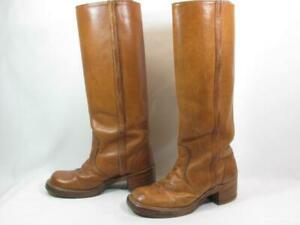 Vintage Knee High Campus Riding Boot Women size 7 Tan