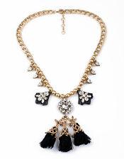 Necklace Fringe Tassel Fabric Sheet Black Pearl Metal Retro Original JCR 6