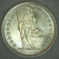 1962 B Switzerland BU Silver 1/2 Franc Coin Uncirculated Coin