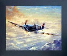 Spitfire Airplane Painting Military Aviation Wall Decor Espresso Framed Picture