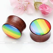 18mm Organic Natural Wood Saddle Rainbow Ear Tunnel Plug Expander Stretcher -FQ