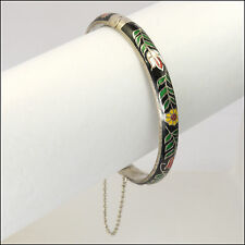 Sterling Silver and Enamel Hinged Bangle