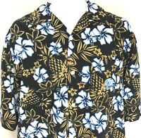 Clench Hawaiian Shirt Embroidered Logo Pocket Floral Pineapple Black Mens Large