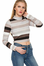 Regular Size Casual Striped Crop Tops for Women