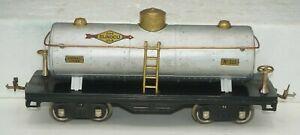 LIONEL PREWAR STANDARD GAUGE TRAINS 515 SUNOCO OIL TANK CAR WITH BRASS TRIM