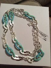 $50 Anne Klein Silver Tone Long Linked Necklace Blue #412