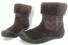 Womens Winter Boots J41 Stream Sz 8M Brown Suede Textile Faux Fur Lined Ankle