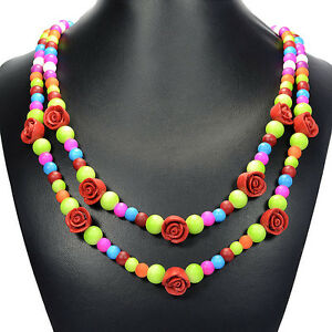 Vintage Cinnabar Rose & Rainbow Shell Necklace Handcrafted Jewellery Gift Idea