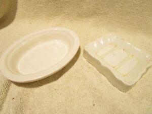2 Vintage TST and Village Bath Products White Porcelain Soap Dishes