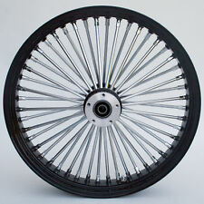 "Black & Chrome Ultima King Spoke 21"" x 3.5"" Front Dual Disc Wheel Harley Custom"
