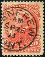 Canada #46 used F 1893 Queen Victoria 20c vermilion Small Queen SON CDS CV$50.00