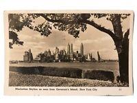 Manhattan Skyline from Governor's Island, New York City, NY Postcard RPPC 1947