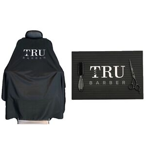 TRUBARBER 2PCS Bundle Black/White Barber Cape, ProSalon Barber, Barber Mat,