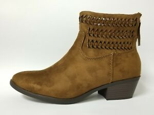 Ladies Ankle Dress Boots Toe Woven Suede Faux Quality Leather Size 5-11 Shoes