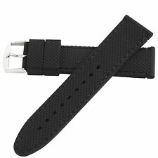 Hadley-Roma 22mm Black Mens Stitch Silicone Diver Watch Band Strap 22mm MS3315
