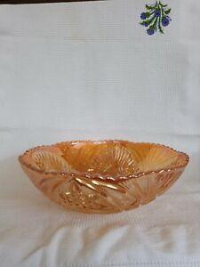 Large Vintage Retro Antique.Vaseline Lustre Carnival Glass Bowl
