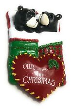 Our First 1st Christmas Ornament Two 2 Black Bears in Bed with Heart