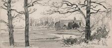 GEORGE CHARLES HAITE Victorian Drawing 1898 CHURCH LANDSCAPE BEAULIEU NEW FOREST