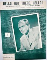 JOHNNY MERCER Sheet Music HELLO, OUT THERE, HELLO! Criterion Publ. 1952 POP