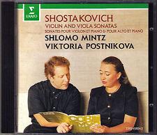 Shlomo MINTZ & POSTNIKOVA SHOSTAKOVICH Violin & Viola Sonata CD Viktoria ERATO