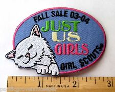 Girl Scout 2003-2004 FALL PRODUCT SALE PATCH Just Us Girls NEW Cute Kitten Cat
