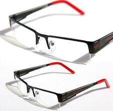 Rectangular Half Rimless Metal Sun-Glasses Optical Rx Black Red Clear Lens 1230