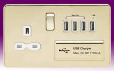 Knightsbridge SF9901PBW 13 a 1-gang Screwless Switched Socket With Dual USB Char