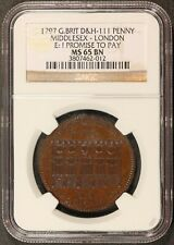 1797 G. Britain Middlesex London One Penny Conder Token D&H-111 - NGC MS 65 BN