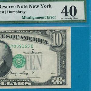 $10. 1950-A  DISTRICT  FANTASTIC THIRD  PRINT MISALIGNMENT ERROR  PMG XF40