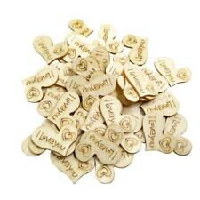 50x Wooden Heart Shapes Decor Craft Scrapbooking MDF Wood Gift Embellishment