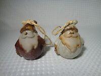 Christmas Santa Folk Art Stoneware Pottery Brown Tone Glazed Figures Ornaments