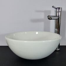 Landhaus Keramik Aufsatz Waschbecken Waschschale 32cm rund Gäste Bad WC NEU