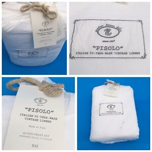"""RESTORATION HARDWARE """"PISOLO"""" Vintage Linens 4 pc. Queen Sheet Set NEW ITALY"""