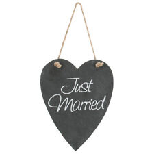 Rustic Country Shabby Chic 'Just Married' Hanging Wedding Slate Heart