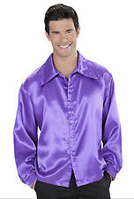 MENS 70s PURPLE SATIN SHIRT BIG COLLAR PARTY XMAS 1970s COSTUME DISCO OUTFIT NEW