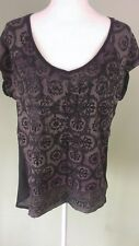 Rock & Republic Womans Brown & Black Abstract with Glitter Print Top Size M