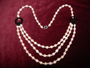 FRESHWATER PEARL CORAL & BLACK ONYX MULTI-STRAND NECKLACE ~ ART DECO STYLE