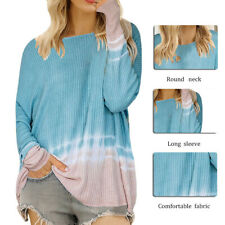 Womens Sexy Off Shoulder Tie Dye Knit Tops Long Sleeve Pullover Tunic Sweater