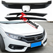 Sport RS Turbo Carbon Fiber Twill Grille Cover/Trim for 2016-2017 Honda Civic