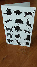 Handmade Cat Silhouettes Card, Cats Silhouette Postcard, Note, Black and White