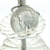 "1923 silver PEACE DOLLAR vintage pendant necklace - US coin no bezel 24"" chain"