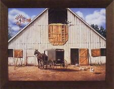 MORNING CHORES by DOUG KNUTSON 22x28 FRAMED PRINT Barn Horse Buggy Chicken