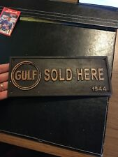 Gulf Oil Sign Solid Metal Antique Style Gas Coal Advertisement Patina Finish F/g