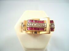 SPLENDIDE BAGUE OR 18K DIAMANTS ET RUBIS DE SYNTHESE ANNEES 40 or 18 carats