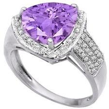 LOVELY 2.42 CTW GENUINE DIAMOND & AMETHYST IN 925 STERLING SILVER RING