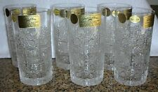 6 Bohemia QUEEN LACE Hand Cut 24% Lead Crystal Highball Water Glasses Bohemian