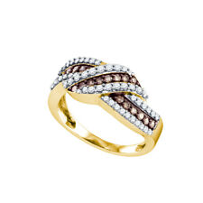 10k Yellow Gold Womens Round Brown Color Enhanced Diamond Crossover Band Ring