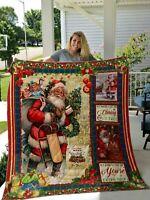 Santa Christmas Bell Fleece Blanket Christmas Gift For Friends Family Blanket