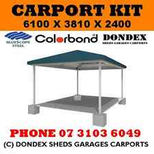 DONDEX Single Hip Roof Carport Kit 6.1x3.81x2.4 Colorbond Roof Facia & Gutters