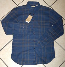 Burberry London Men's Slim Fit Check Cotton Shirt, Navy, Size L